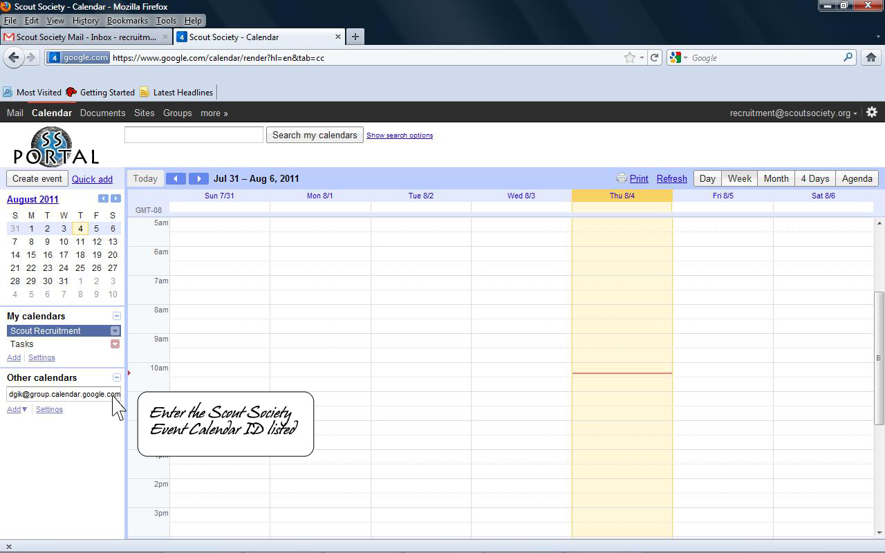 Copy the ID into the Other Calendars section